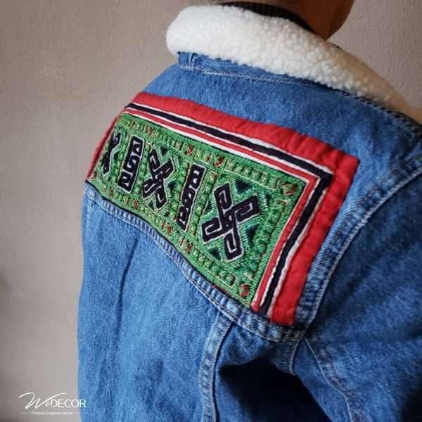 Jeans jacket Collar-2 met borduurwerk van de HMong