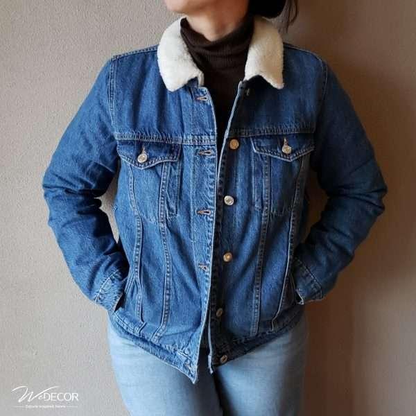 Jeans jacket Collar-3 afgewerkt met borduurwerk HMong